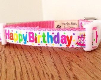 Happy Birthday Dog Collar / Birthday Dog Collar / Dog Party Collar / Pink Dog Collar / Adjustable Collar / Dog Collar and Leash