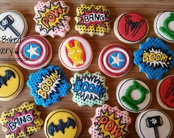 Superhero Comic Cookies