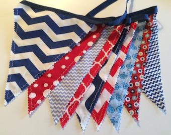 Patriotic fabric banner, patriotic bunting, patriotic banner, 4th of July bunting, birthday party banner, classroom decor, classroom bunting