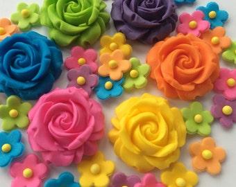 RAINBOW ROSE FLOWERS handmade edible sugar paste cupcake toppers