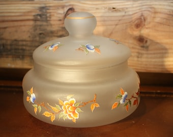 Vintage Floral Frosted Glass Covered Dish
