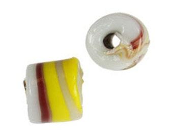 9X8 Spotted Glass Cylinder Beads-White/Yellow/Burgundy Mix (144pcs)