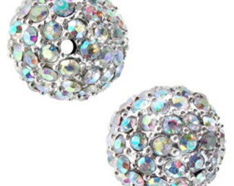 12mm Beadelle Silver Crystal AB Pave Bead (6 pcs)