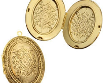 57x45mm Antique Gold Oval Locket (12pcs)