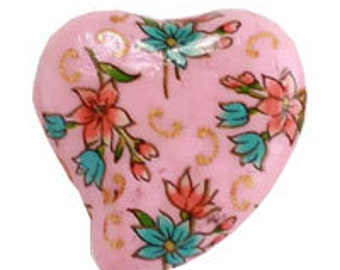 Ceramic Painted Heart Pendant - Pink (12pcs)