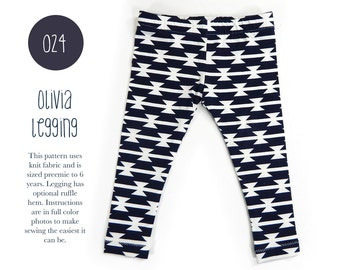 024 Olivia Leggings PDF Sewing Pattern Boy or Girl Kid Baby Yoga Pant Knit Elastic Waist Preemie- 6T Sadi & Sam