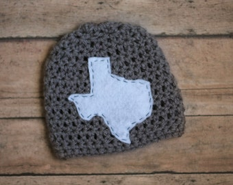 Newborn Texas Crochet Hat Gray White Infant Baby State Boy Girl Photography Prop Photo