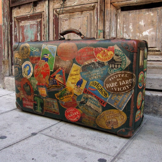 Stunning antique suitcase valise vintage french suitcase - Vintage suitcase ...