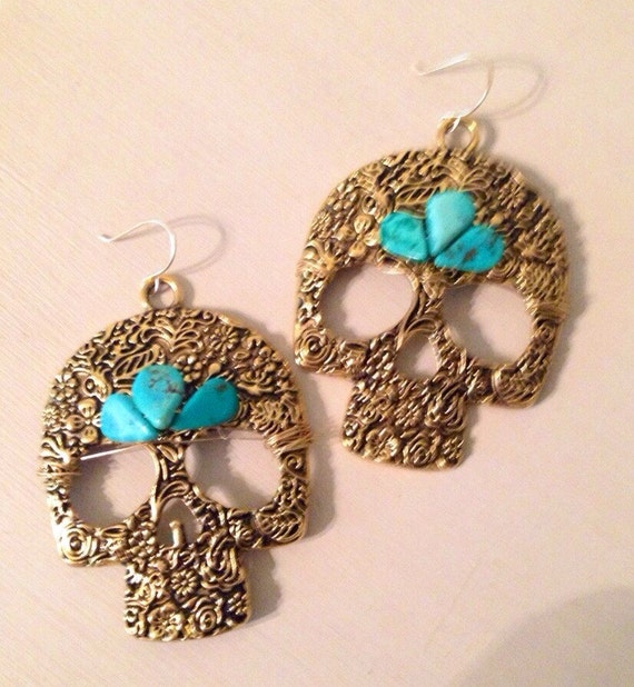 Brass and Turquoise Skull Earrings