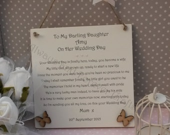 Wedding Gift Ideas From Parents To Daughter : daughter on her wedding day personalised bride plaque gift from mother ...