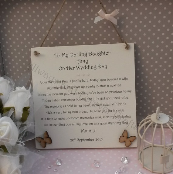 Wedding Gift To Daughter From Dad : For my Daughter on her Wedding Day - Personalised bride plaque gift ...