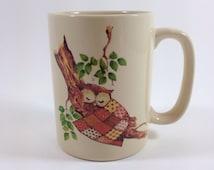 Sleeping Owl Patchwork Quilt Mug by Otagiri Japanese Stoneware Mug