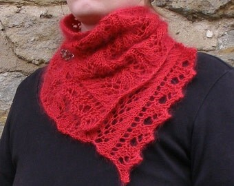 Soft knitted mohair scarf, Red silk lacy knit scarf, Unique gift for girl friend, Love you forever