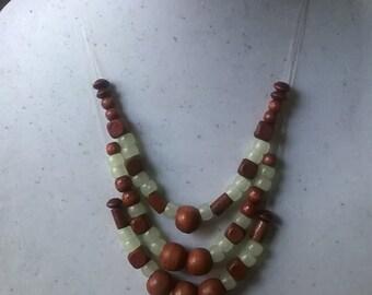 Tribal Wood and Glow Bead Wrap