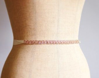 Handmade Beads Embroidered Wedding Belt, Bridal Belt, Sash Belt, Ready to ship
