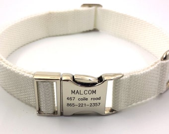 White Customized Dog Collar  Engraved Buckle Name Address Phone Number Personalized Adjustable Canvas