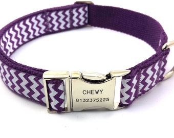 Chevron Stripe Waves Dog Collar Free Engraved Personalized Customized Name Phone Number Purple