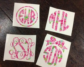 Custom Personalized Lilly Pulitzer Monogram Decal for Cars, Laptops, iPads, iPhones, Water Bottles, Etc.