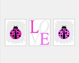 Baby Girl Nursery Art Print - LadyBug Nursery Decor - Ladybird Nursery Wall Art LadyBug Decor - LadyBug Print Girl Bedroom Art - Flower Art