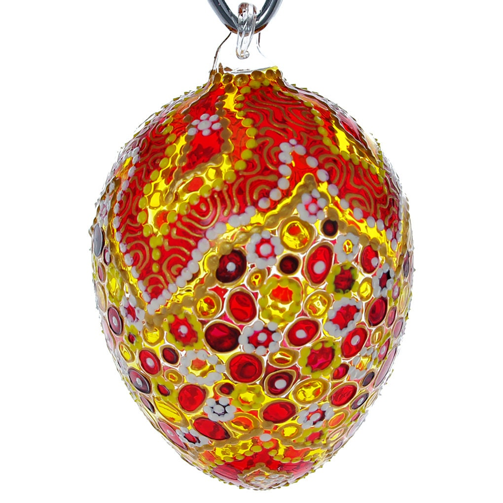 April hand blown glass easter egg ornament by