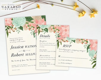 DIGITAL Wedding Invitation Set PRINTABLE Floral Wedding Invitation Set - DIY Digital Invitation Suite - Little Carabao Studio - #002