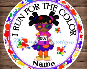 Color Run Dark Skin Girl Personalized Stickers - Favor Labels, Party Favor Stickers, Birthday Stickers, Baby Shower
