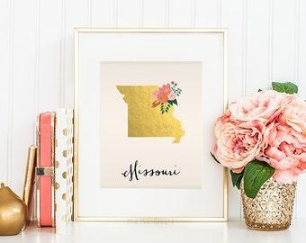 Missouri State Printable Art Missouri Art Printable Missouri Map Printable Faux Gold Foil Printable Wall Art Housewarming Gift