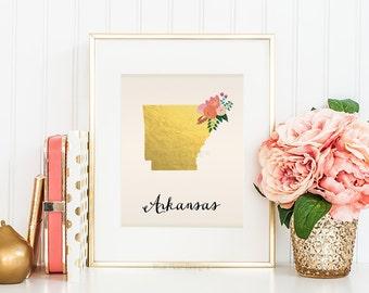 Arkansas State Art Printable Arkansas Art Print Arkansas State Printable Arkansas Wall Art State Map Print Home Wall Art Faux Gold Foil