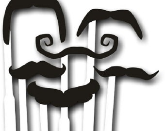 Set of 6 Acrylic Moustaches on Sticks 012-060 Professional Quality
