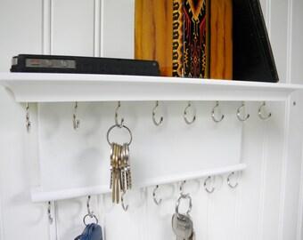 Key Holder Wall Shelf  Wood Handmade Wall Mounted Brilliant White