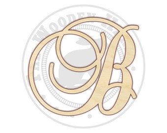 Fancy Monogram Letter - Wood Initials - Wood Initial Sign -  150280 - Unfinished Wood