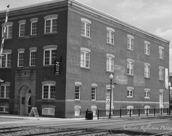 Limited Edition Black and White/Historical Building/Manassas Feed/Hopkins Candy/Center for Arts/Recycling the Land 8x12 Print