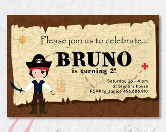 Pirate invitation. Pirates birthday party. Printable pirate invitation. Pirates party.