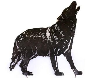 Wolf Garden Stake / Yard Art   - Mexican Gray Wolf - Endangered Species  / Garden Art Wall Decor