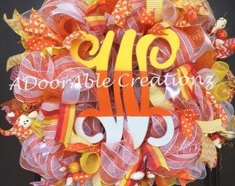 Candy Corn Monogram Deco Mesh Wreath, Monogram Fall Wreath, Halloween Monogram Candy Coen Wreath, Yellow White Orange Wreath