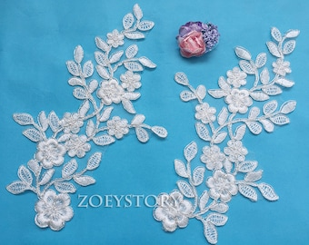Ivory with Silver Alencon Lace Applique, Silver Corded Lace Applique, Floral Bridal Piece Lace, TOP Quality, Sell By Mirror Pair(AL081)