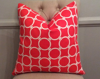 Handmade Decorative Pillow Cover - Premier Prints Linked Calypso - Bright Red - Geometric - Circles - Indoor Outdoor