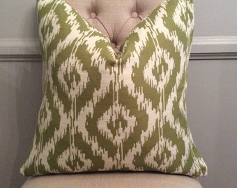 Handmade Decorative Pillow Cover - Eroica Tribal Jacquard Apple - Green - Ikat - Upholstery