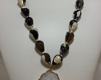 druzy & agate bead necklace