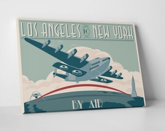 LA to NY by Air Gallery Wrapped Canvas Print