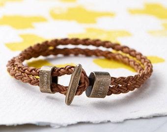 Personalised Men's Leather Bracelet, personalized, personalised bracelet, engraved, valentines gift for him, custom bracelet