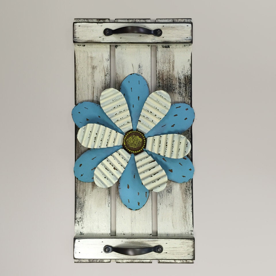 Distressed Home Decor: Wall Art SHUTTER Metal FLOWER Rustic Country Distressed