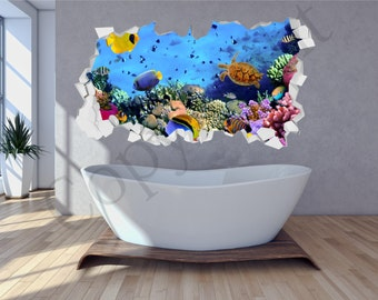 Sea Aquarium Fish Bathroom Under Water Crumbled Wall 3D  Huge Wall Art Sticker Decal Print WAP-C109H