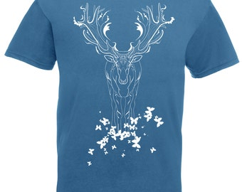 Deer t shirt. Stag and butterfly tshirt. Graphic art tees for men. Gift for nature guy. Outdoorsy outdoor animal lover. Steel blue white tee