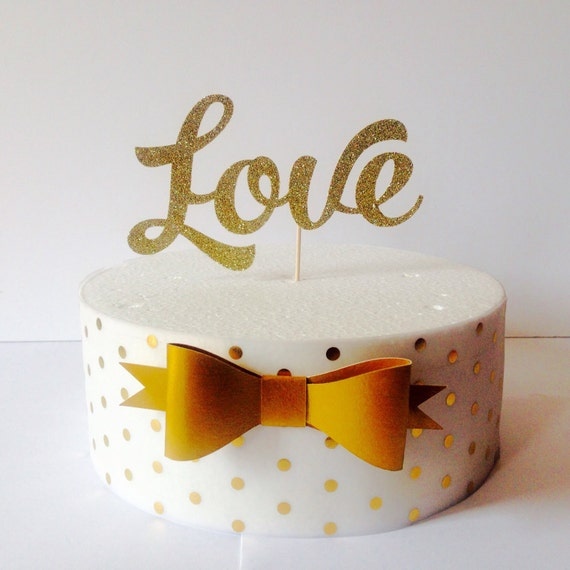 Cake Decor Glitter : Love gold glitter cake topper cake decoration cup cake
