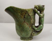 Large Vintage Chinese China Carved Spinach Jade Cup Pitcher Ewer with Chilong Chilung Qilong Chi Long Hornless Dragon