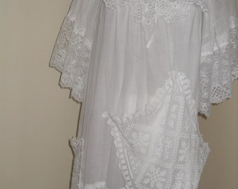 Bohemian white lace dress by Indian canvas and doily