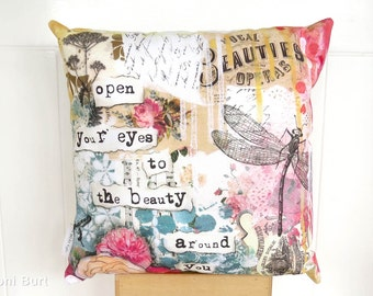 dragonfly throw pillow, shabby French chic accent cushion, sofa accent pillow, French country, open your eyes to the beauty around you
