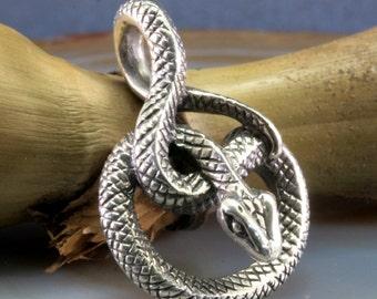 Bamboo snake pendant 925 sterling silverr - snake bamboo snake pendant 925 sterling silver