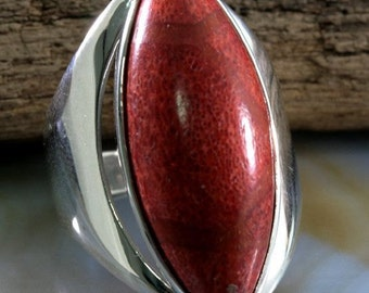 Sponge Coral and  925 Sterling Silver Ring